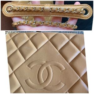 CHANEL Bags - CHANEL Beige Diamond Quilted Chain Flap Bag